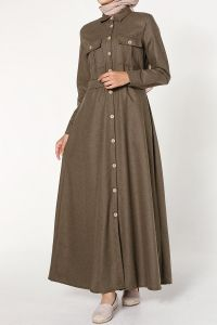 BELTED NATUREL FABRIC DRESS