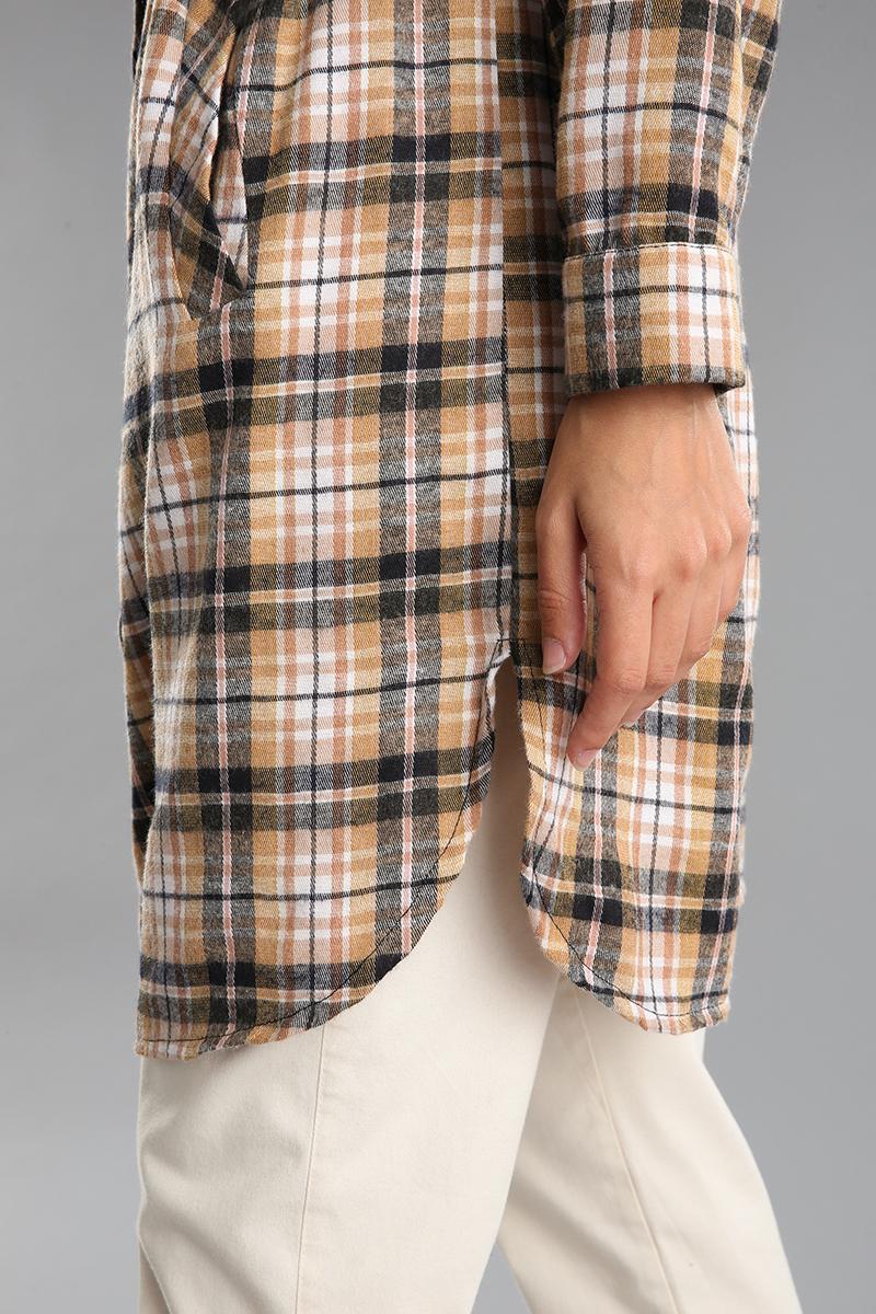 Kemerli Düğmeli Cepli Ekose Gömlek Tunik
