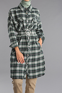 Belted Buttoned Pocket Plaid Shirt Tunic