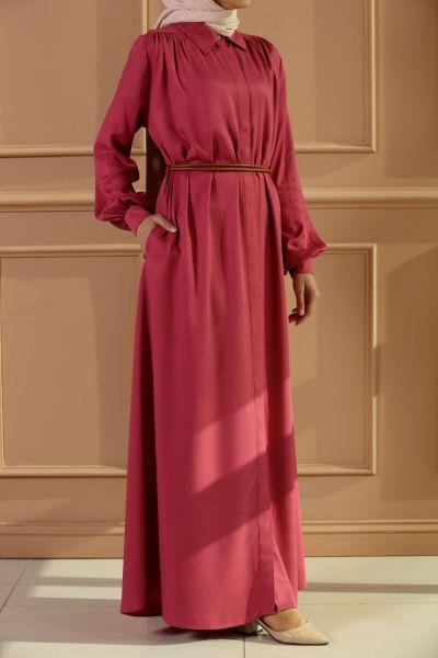 Viskon Kemerli Elbise