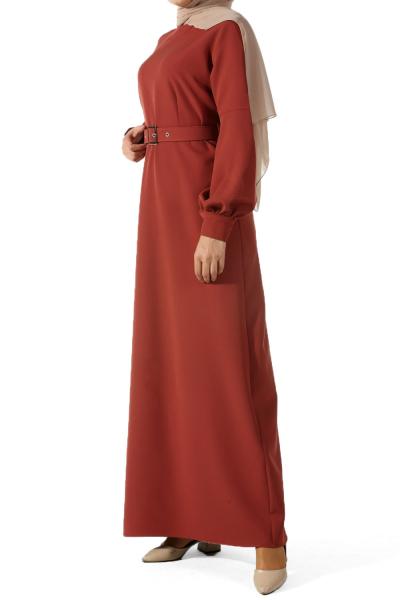 Kemerli Kol Manşetli Elbise