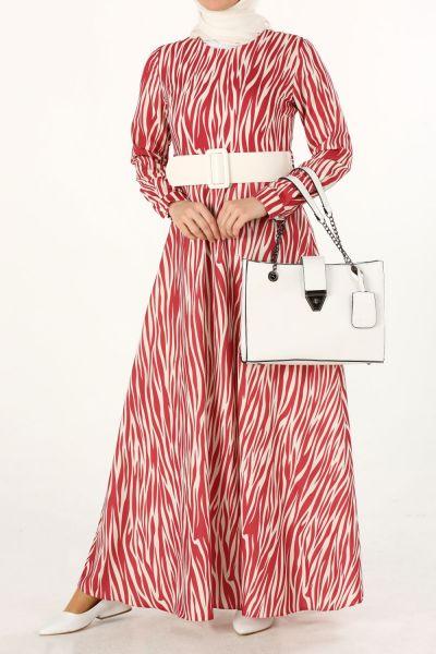 Zebra Desenli Kemerli Elbise