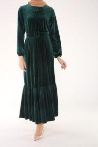 Kemerli Eteği Fırfır Elbise