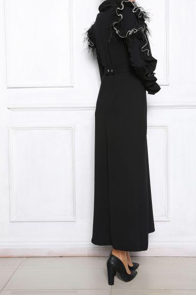 Kemerli Kol Detaylı Elbise