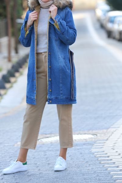BELTED HIJAB DENIM JACKET
