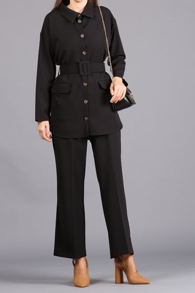 BELTED BUTTONED HIJAB SUIT