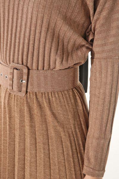 Kemerli Pliseli Elbise