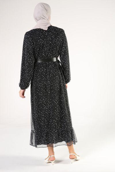 Kemerli Puantiyeli Elbise