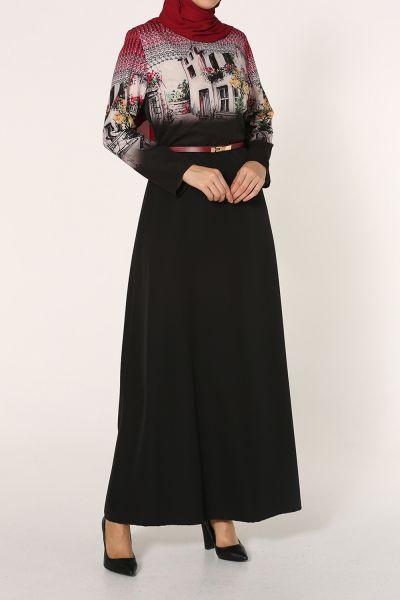 Kemerli Üstü Desenli Kiloş Elbise