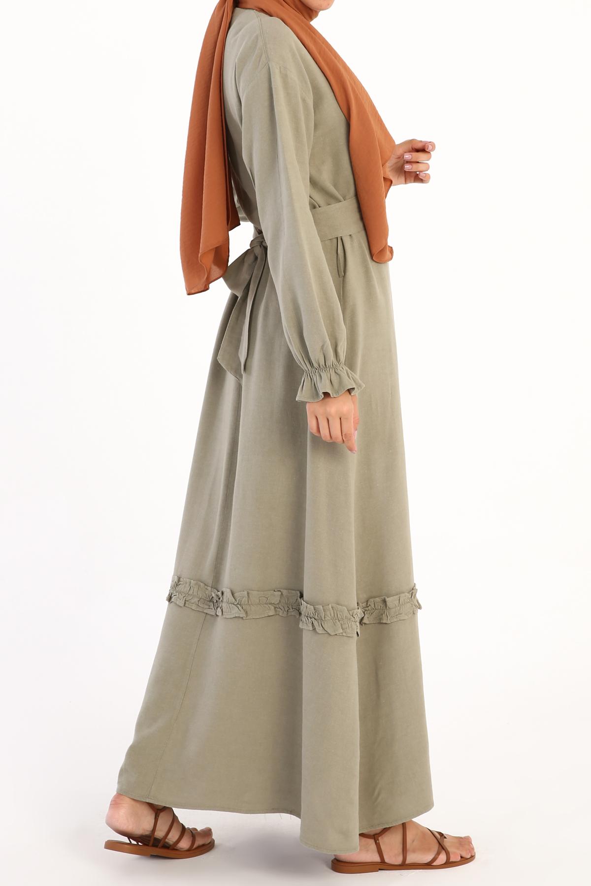 Self Belted Ruffle Juliet Sleeve Long Dress
