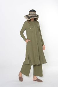 LINEN HIJAB SUIT WITH PANTS