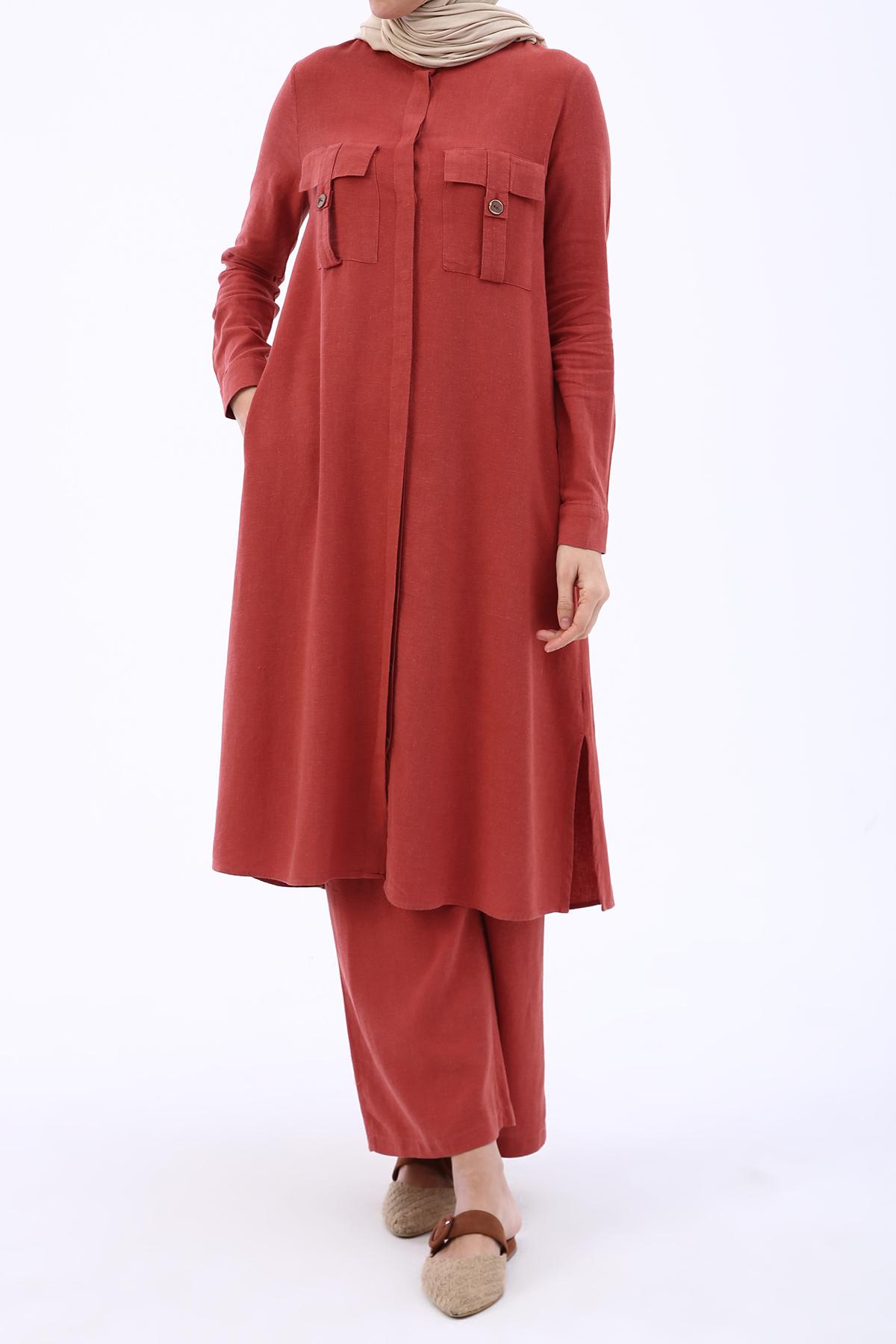 Flap Pocket Long Linen Shirt and Comfy Pants Outfit Set