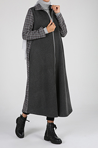 Plaid Pocket Zippered Cape