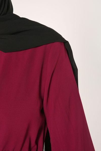 Kol Büzgülü Bel Kordonlu Elbise