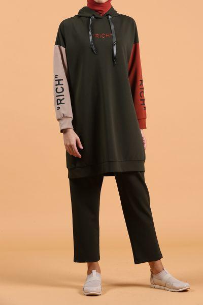 Kol Detay Kapüşonlu Pantolonlu Takım