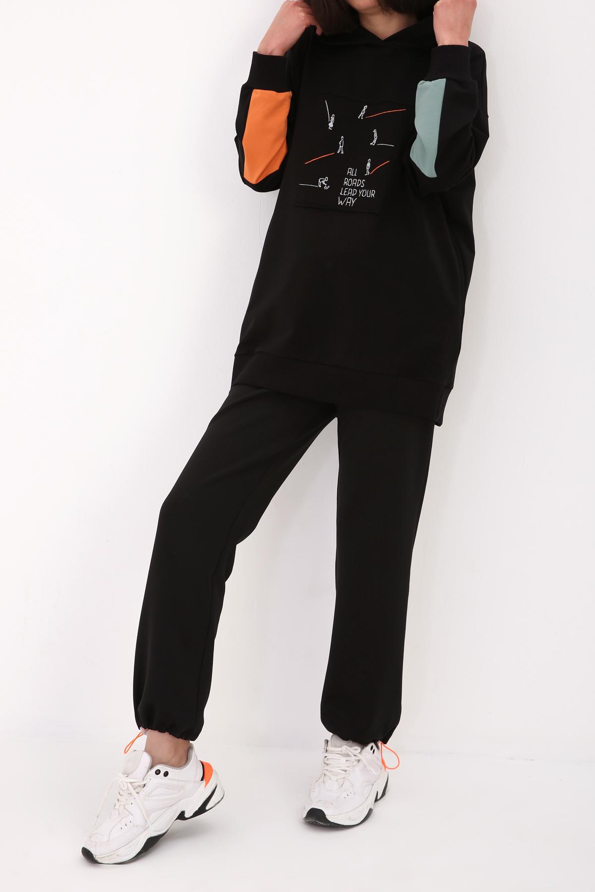 Sleeve Detailed Embroidered Sweatshirt Tunic