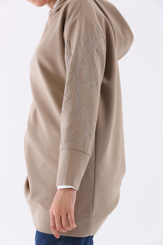 Embroidered Sleeve Hooded Sweatshirt Tunic