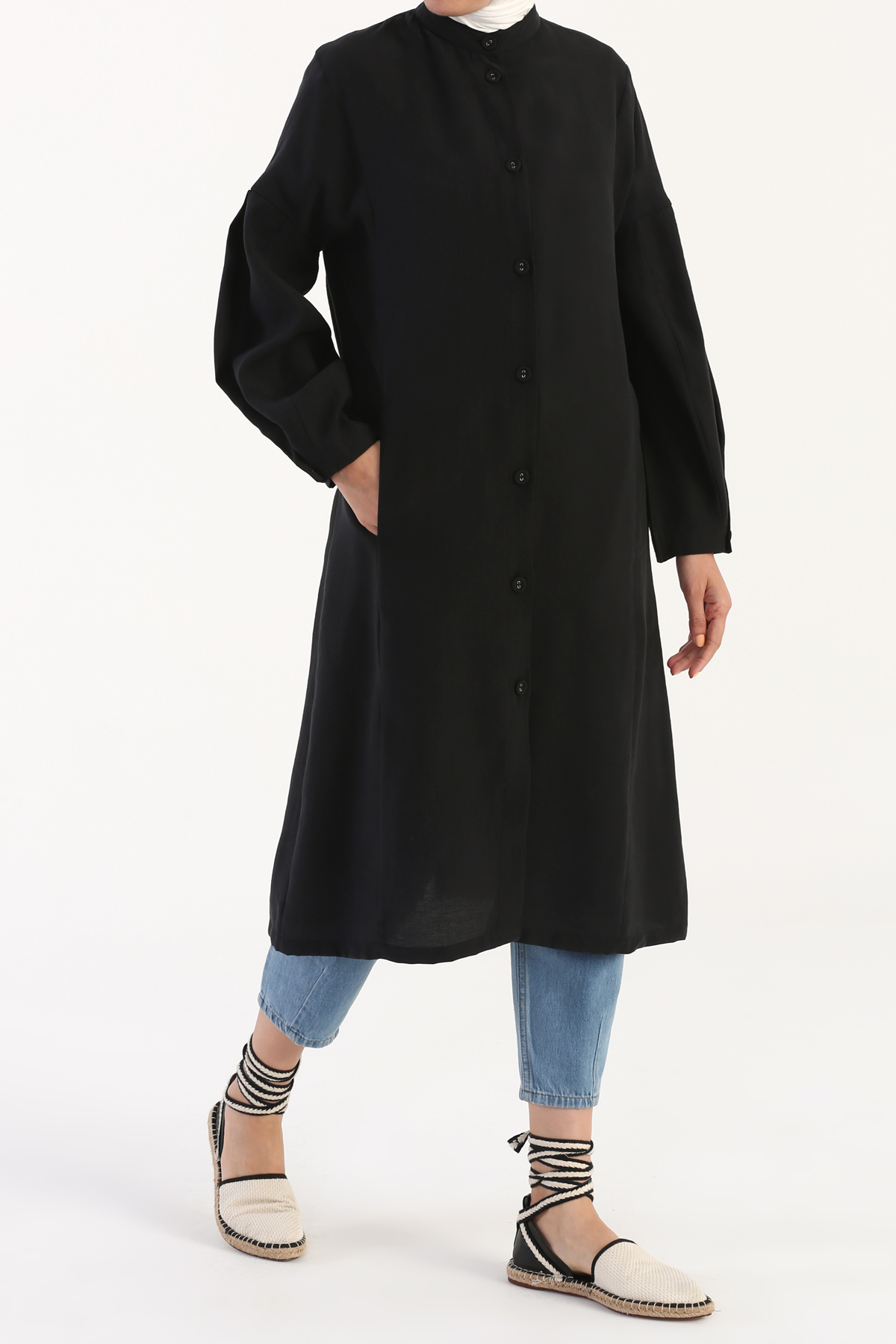 Pleated Sleeve Button Front Tencel Cape