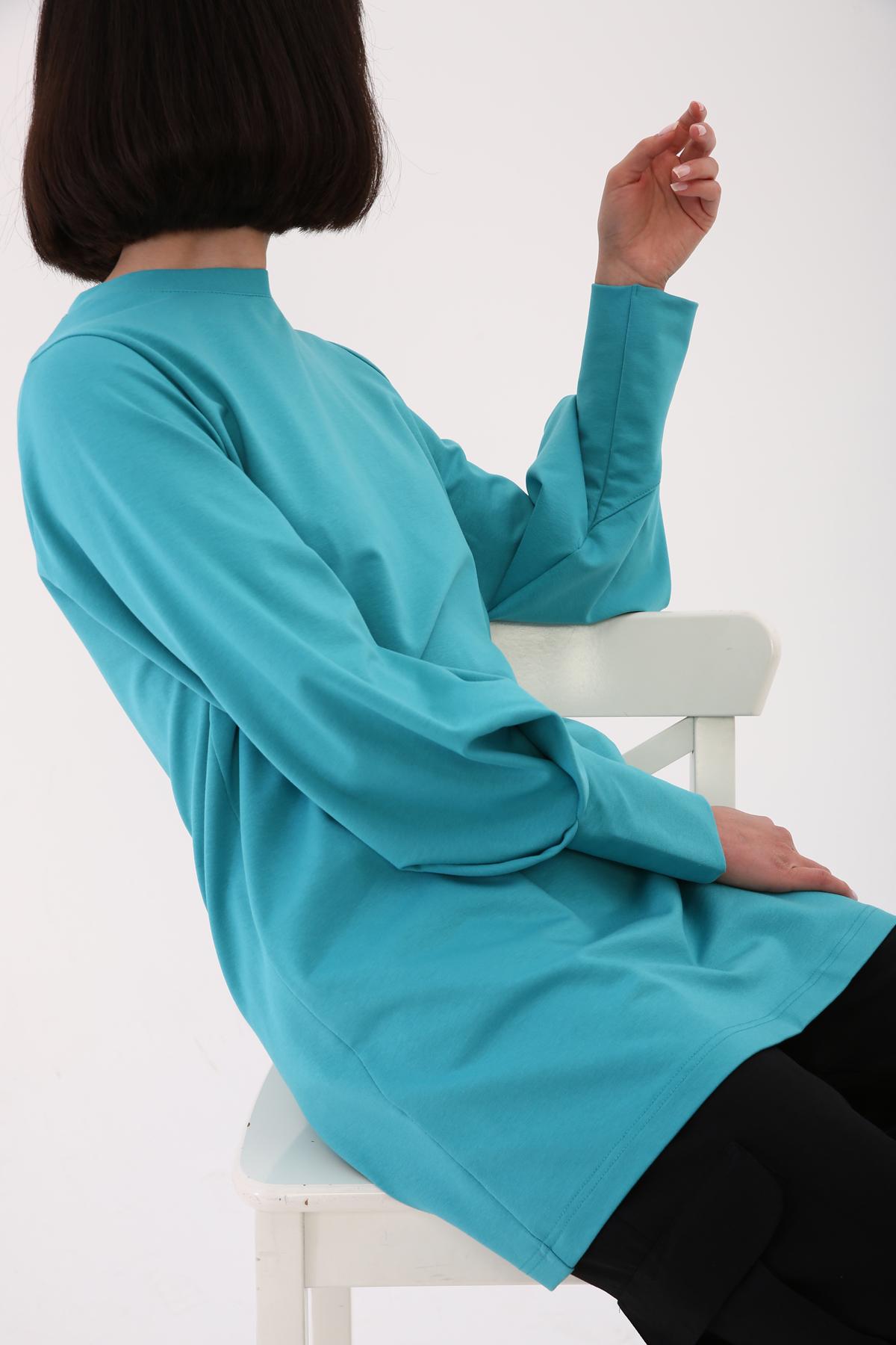 Cuff Sleeve Detailed Sweatshirt Tunic
