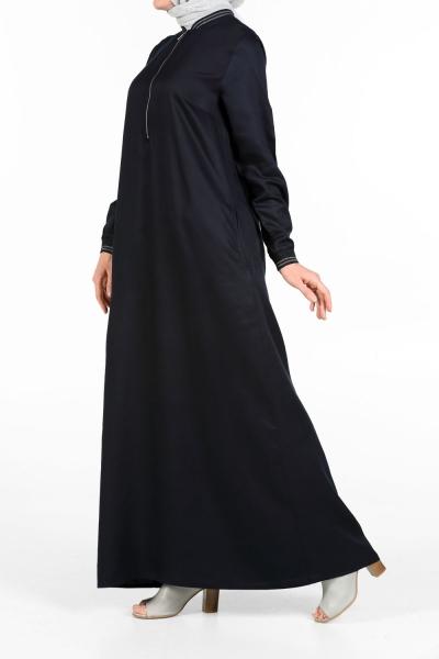 RIBBED HALF ZIP DRESS