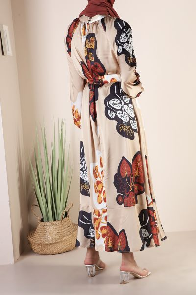 Kolları Büzgülü Desenli Elbise