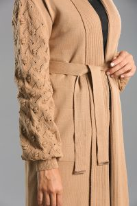 Patterned Belted Pocket Cardigan