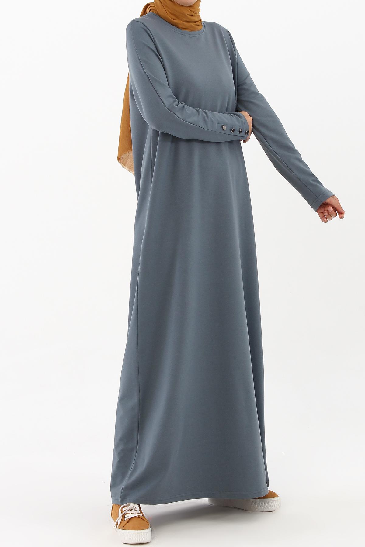Kolları Düğmeli Elbise