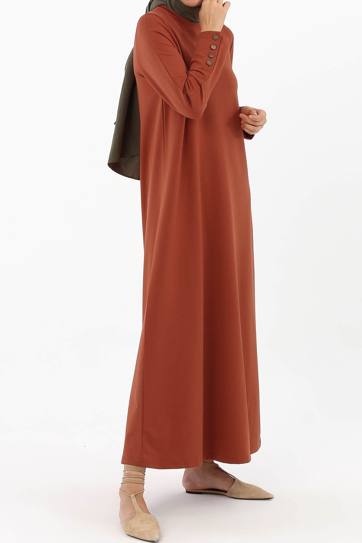 Button Sleeve Combed Cotton Dress