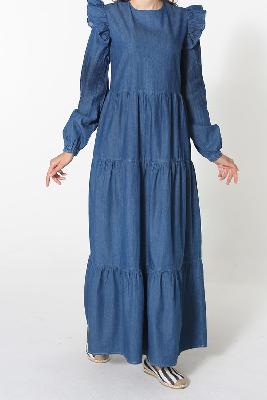 Büyük Beden Kolları Fırfırlı Denim Elbise