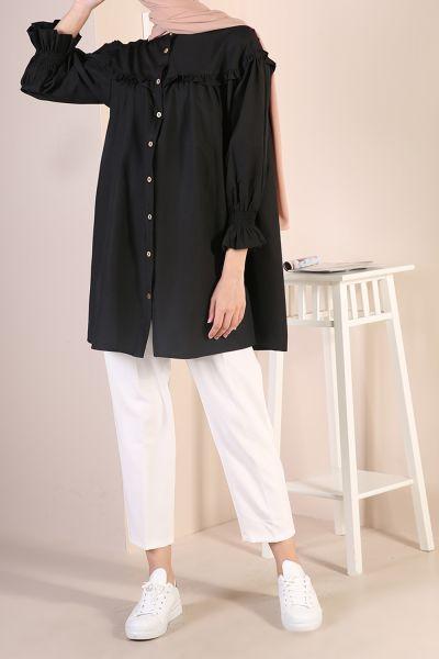 Kolları Fırfırlı Düğmeli Gömlek Tunik