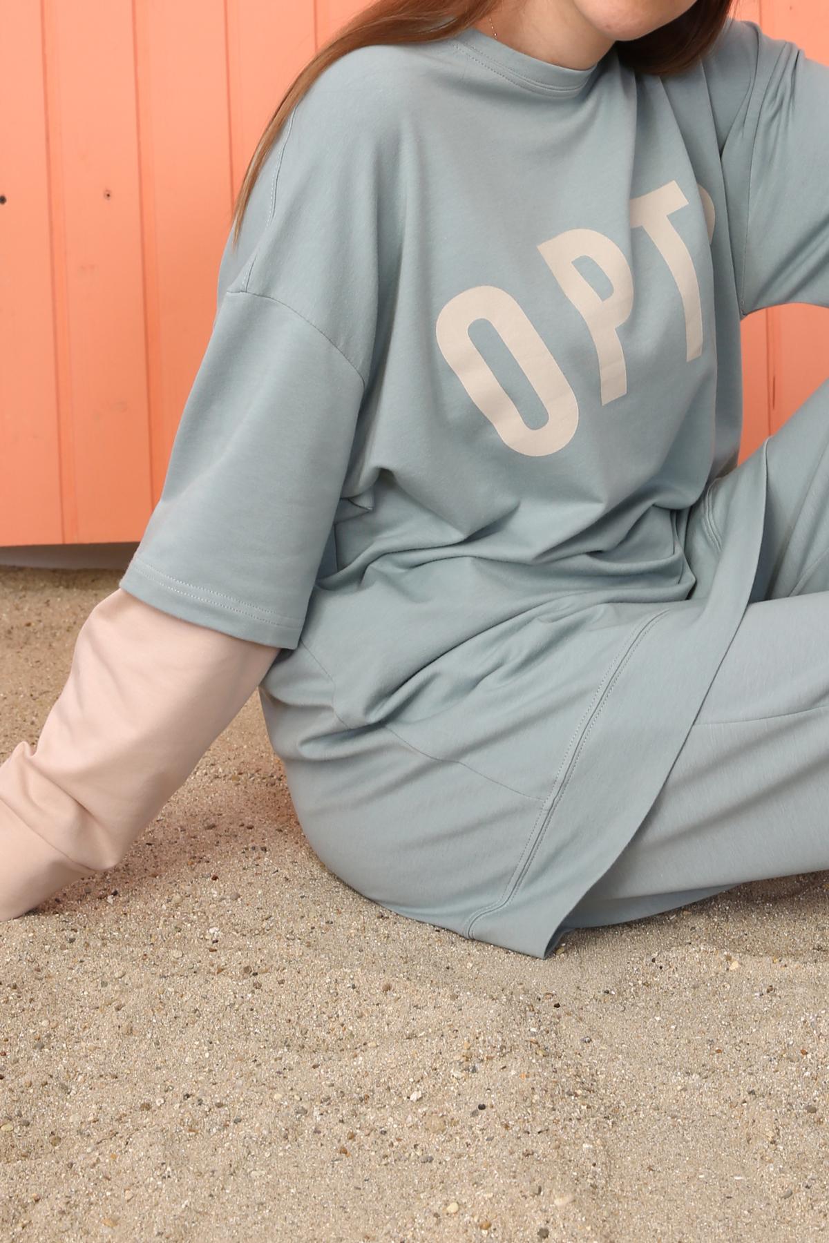 Sleeve Detailed Comfy Printed Sweatshirt