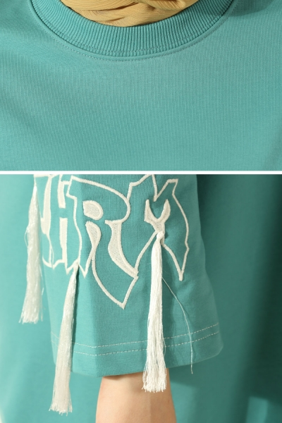 Embroidered Sleeve Combed Cotton Tunic