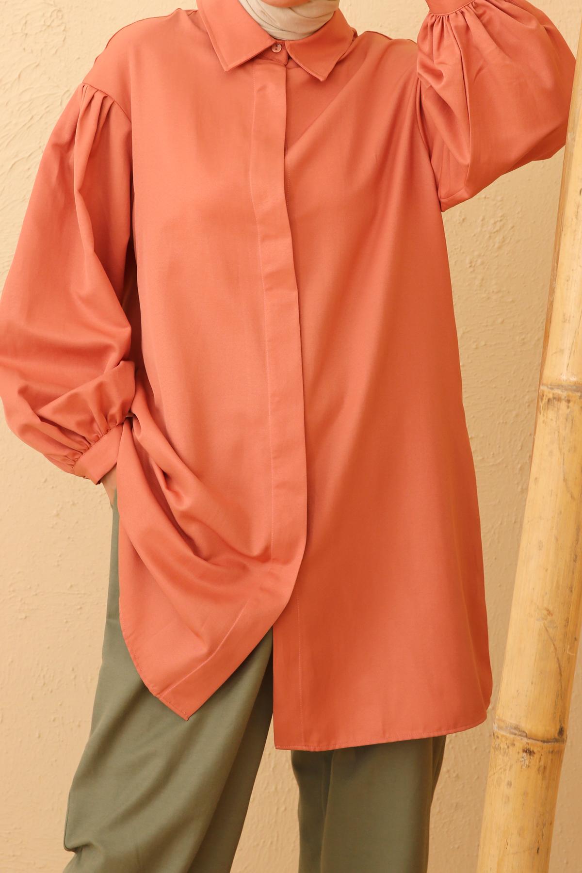 Pleated Sleeve Comfy Shirt Tunic