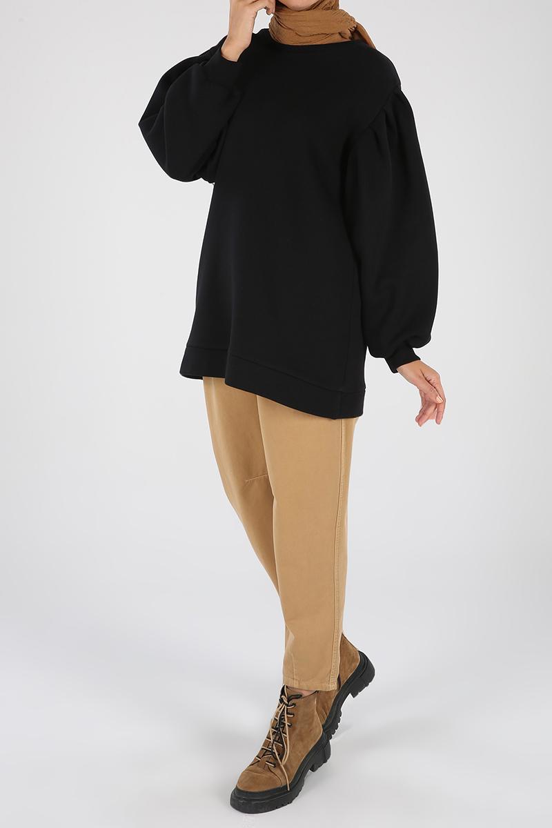 Kolları Pileli Sweatshirt