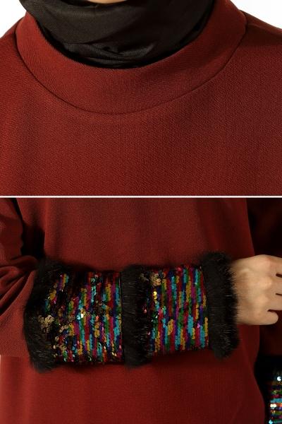 Kolları Pul Payetli Bluz