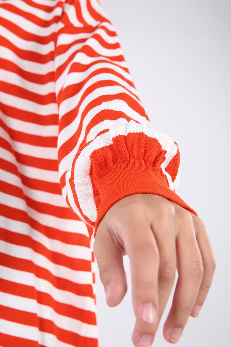 Kolları Ribanalı Çizgi Desen Detaylı Triko Tunik