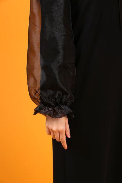 Kolları Tül Kuşaklı Elbise