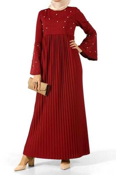 İncili Pileli Elbise