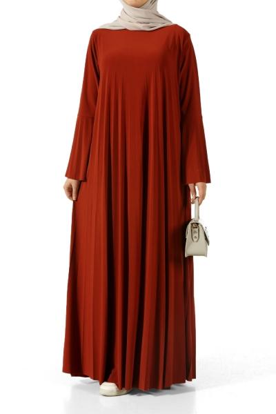 Kolu Volanlı Pliseli Elbise