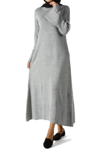 FLOUNCED SLEEVE KNITWEAR DRESS