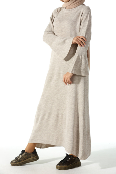 FLOUNCED SLEEVE KNITWEAR DRESS