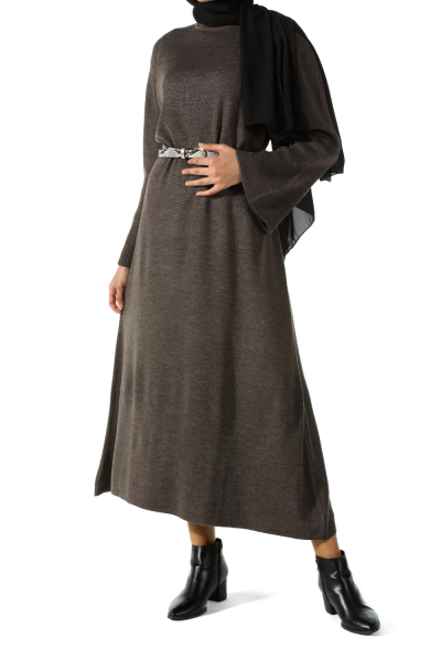 Kolu Volanlı Triko Elbise