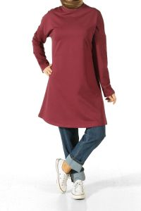 ELBOW PATCH T SLEEVE COMBED COTTON TUNIC