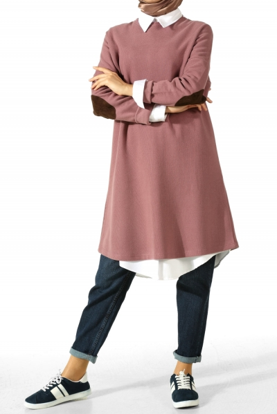 T SLEEVE TUNIC WITH ELBOW PATCH