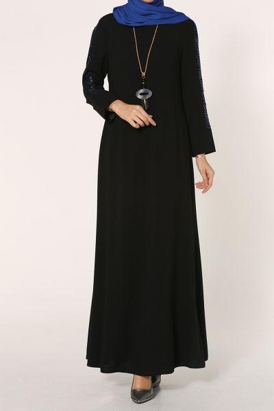 Kolları Pul Payet Kolyeli Elbise