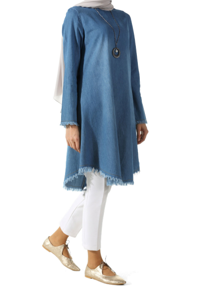 Denim Tunic with Necklace