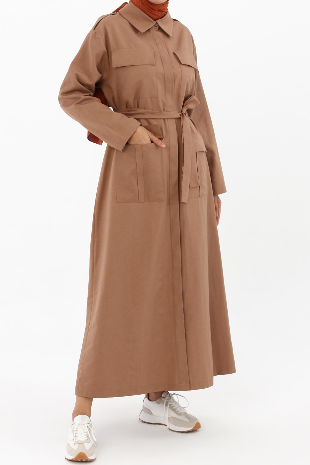 Zippered Pocket Self Belted Abaya