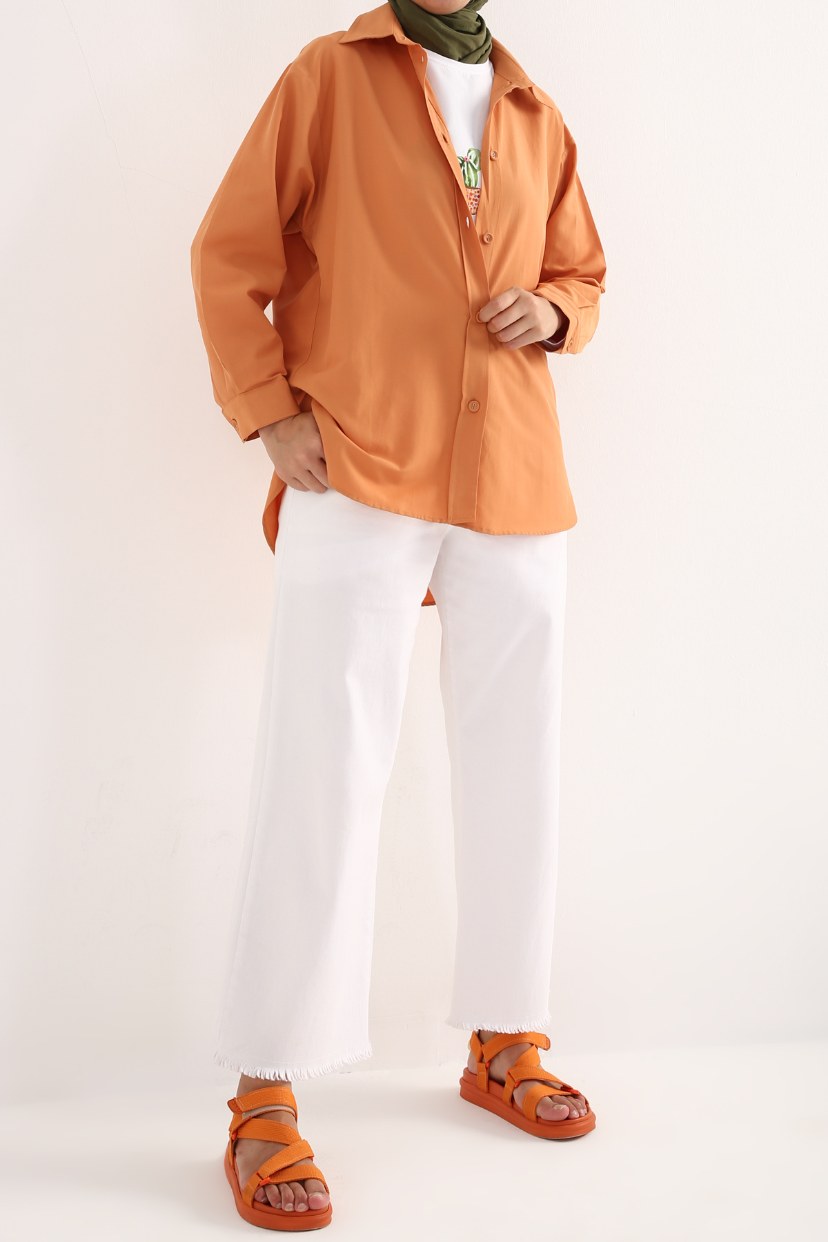 Back Detailed Buttoned Oversize Shirt