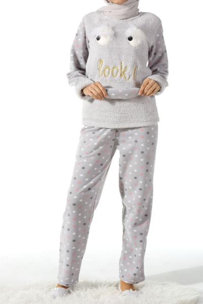 Kürk Detaylı Dörtlü Pijama Takımı