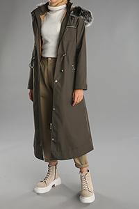 Fur Detailed Hooded Zippered Pocket Coat